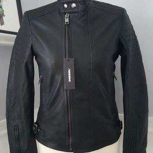 DIESEL Black LEATHER Biker Jacket Lily XS $778